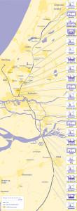 Gele tracékaart met kunstwerken