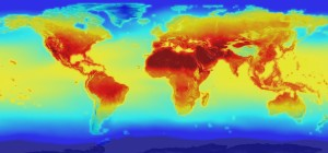 The new NASA global data set combines historical measurements with data from climate simulations using the best available computer models to provide forecasts of how global temperature (shown here) and precipitation might change up to 2100 under different greenhouse gas emissions scenarios. Credit: NASA.
