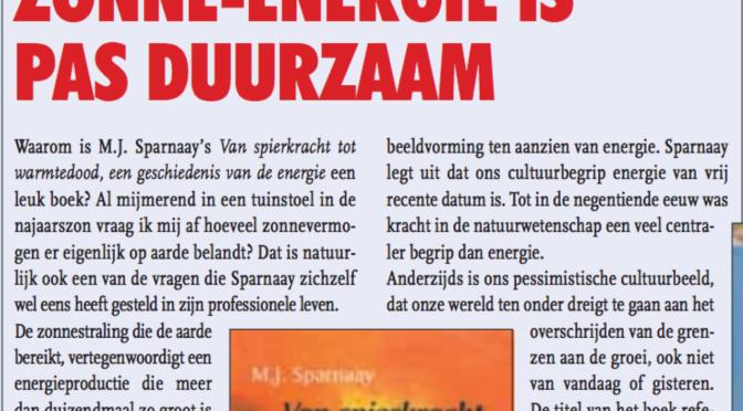 Warmtedood:ZONNE-ENERGIE  IS PAS DUURZAAM (recensie, oktober 2002, DI 19)