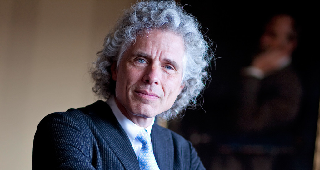 "Steven Pinker is the Johnstone Family Professor of Psychology and a Harvard College professor and he is the author of the new book, ""The Better Angels of Our Nature: Why Violence has Declined."" He was photographed in front of William James who he calls his heroe. He has quoted him in every one of his books. Rose Lincoln /Harvard Staff Photographer"